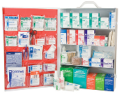 4 SHELF FIRST AID CABINET, FULLY STOCKED  SHIPS FOR FREE !