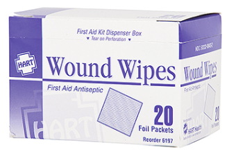 WOUND WIPES, ANTIBACTERIAL, 20/BOX