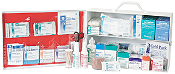 2 SHELF FIRST AID CABINET, FULLY STOCKED WITH MEDS